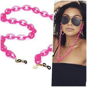 Quay Pink Chain Blue Light Sun Glasses Face Mask